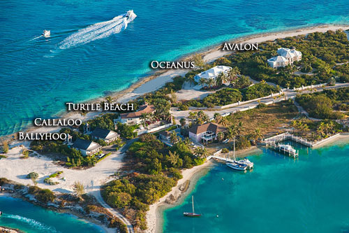 An aerial photograph showing the location of this holiday rental cottage at the western tip of Grace Bay Beach, Providenciales (Provo), Turks and Caicos Islands.