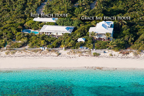An aerial photograph showing the ideal Caribbean location of Grace Bay Beach House, Providenciales (Provo), Turks and Caicos Islands.