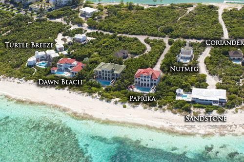 An aerial photograph showing the our Turks and Caicos vacation villa rentals on the north shore of Providenciales (Provo).