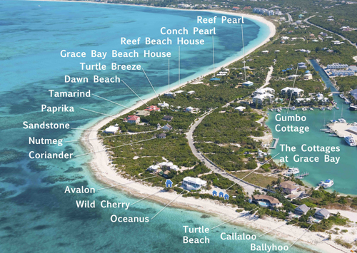 An aerial photograph showing some of our Turks and caicos holiday villa rentals on Providenciales (Provo).